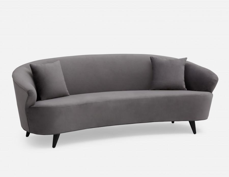 Layne Grey Velvet 3 Seater Sofa Structube 3 Seater Sofa