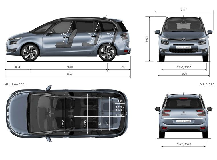citro n grand c4 picasso 2 dimensions mpvs pinterest cars. Black Bedroom Furniture Sets. Home Design Ideas