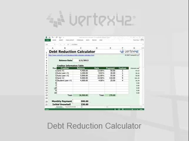 Free Debt Reduction Calculator for Excel Knowledge is power - free debt calculator and spreadsheet from vertex