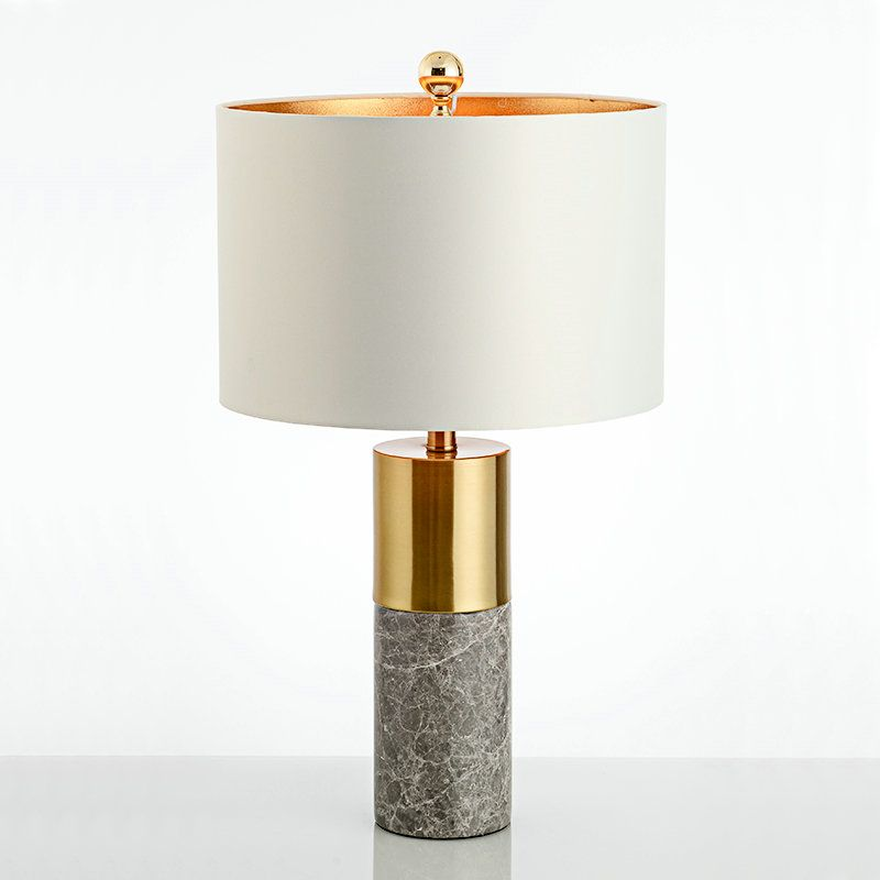 Modern Simple Table Lamp Bedroom Study Room Table Lamp Iron Marble Fixture Fabric Desk Lamp Lamp Table Lamp Concrete Table Lamp