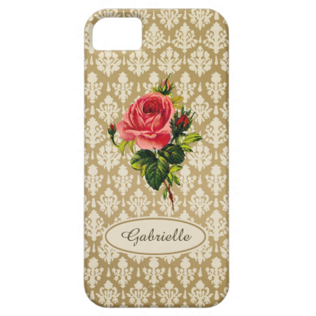 An elegant vintage Victorian gold damask pattern Barely There iPhone 5/5S Case with a beautiful pink rose. Personalize this feminine pink and gold classic design by adding your name.