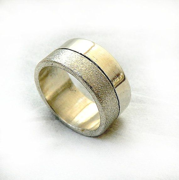 Two texture chic womens wedding ring half shiny and half textured