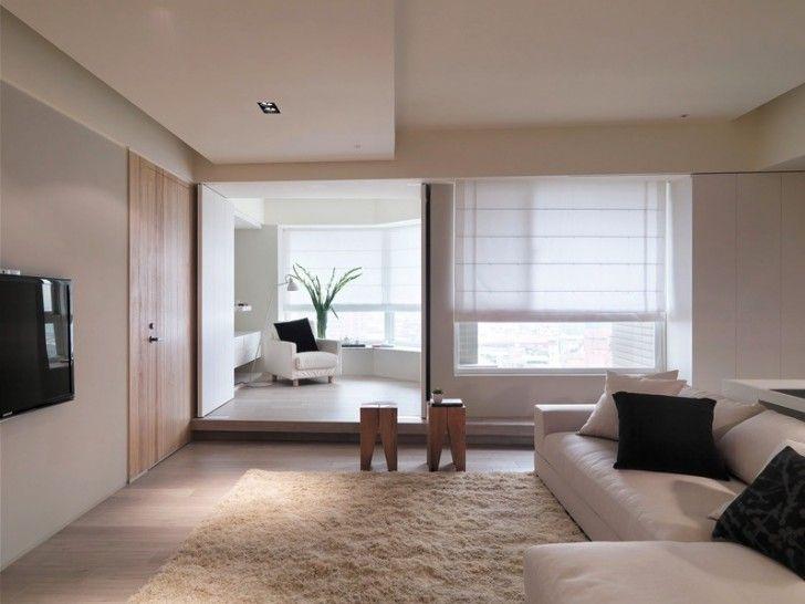 Apartment, Cream Fur Rug White Beige Sectional Sofa Wooden Floor Comfy Chair  Cushion Wooden Coffee