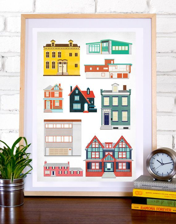Architectural House Poster House Portraits Architectural Architectural Prints New Home Gifts Different House Styles