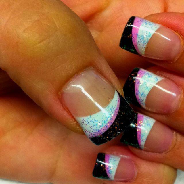 Cd55291939e1a54e8005ad15451df47bg 640640 pixels nails airbrush nails pinkblackwhite glitter by carmen prinsesfo Choice Image