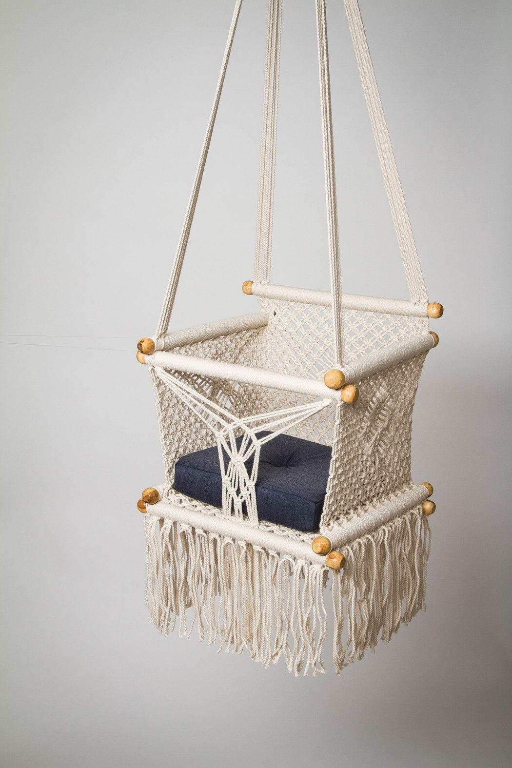 """Baby Swing Chair 14"""" in Macrame. 1 Year Warranty"""