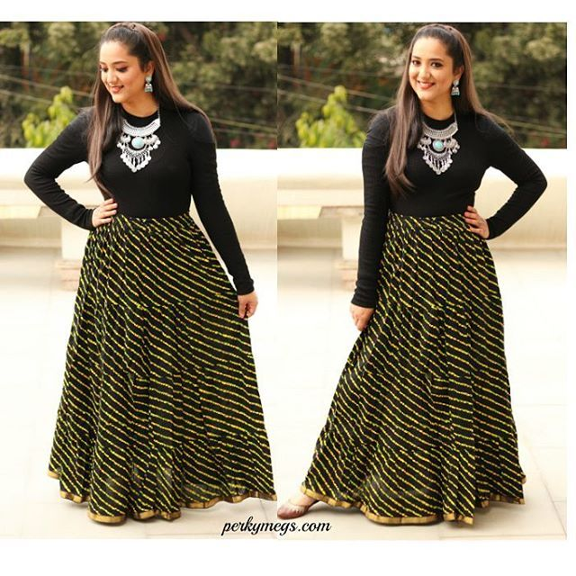 51f0fbd63e indian ethnic winter wear. Long skirt with sweater. Indian outfits for  winter.