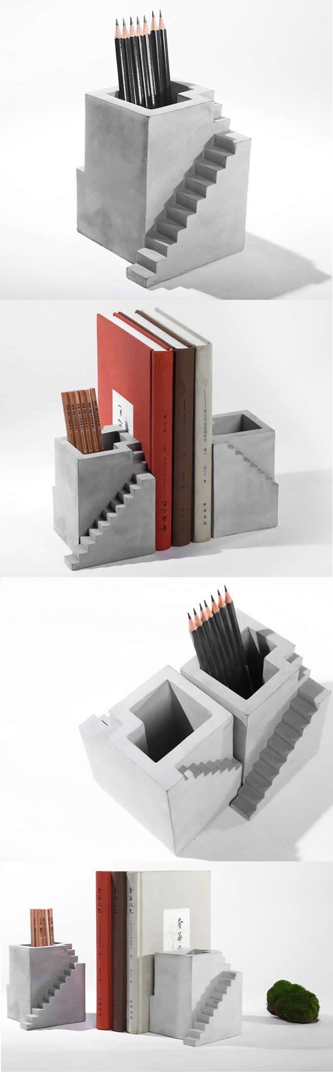 Concrete Architecture Stairs Succulent Planter Flower Pot Pen Pencil Holder  Office Desk Stationery Organizer Concrete Office