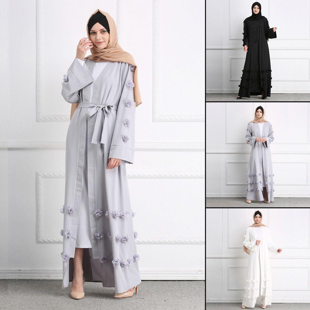 Dubai lace cardigan muslim women open front robe islamic maxi dress