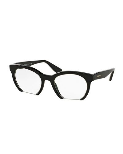 84c9910cb159d4 Miu Miu cat-eye optical frames. Clear, non-optical demo lenses (replacement  recommended). Acetate frames  cutoff at the bottom. Logo detail at temples.