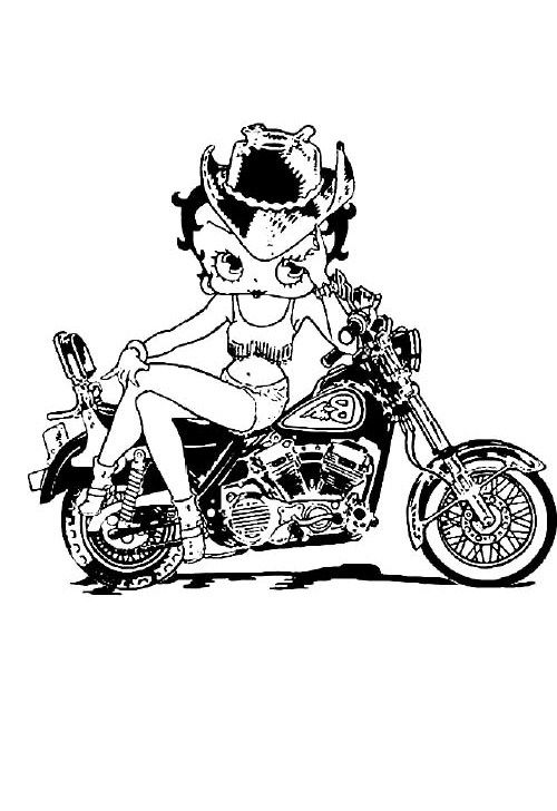 Betty Boop Sitting On The Motorcycle Style With Attractive Coloring Pages