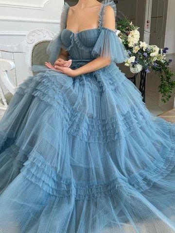 Booma Black Starry Tulle Prom Dresses Sparkly V-Ne