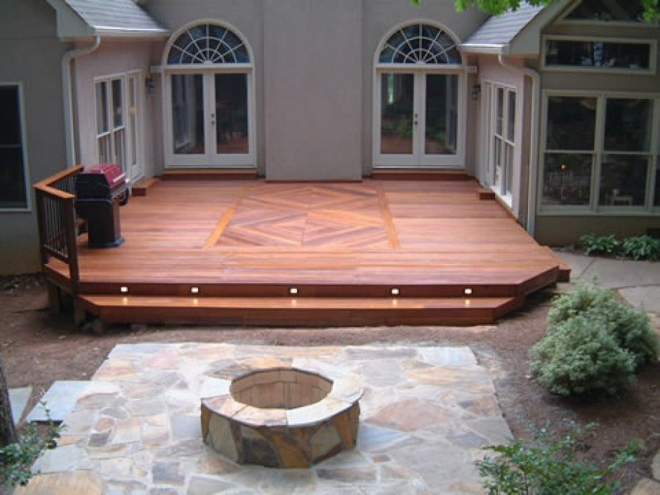 Like The Design In The Middle And Angled Corners   Wood Deck Designs