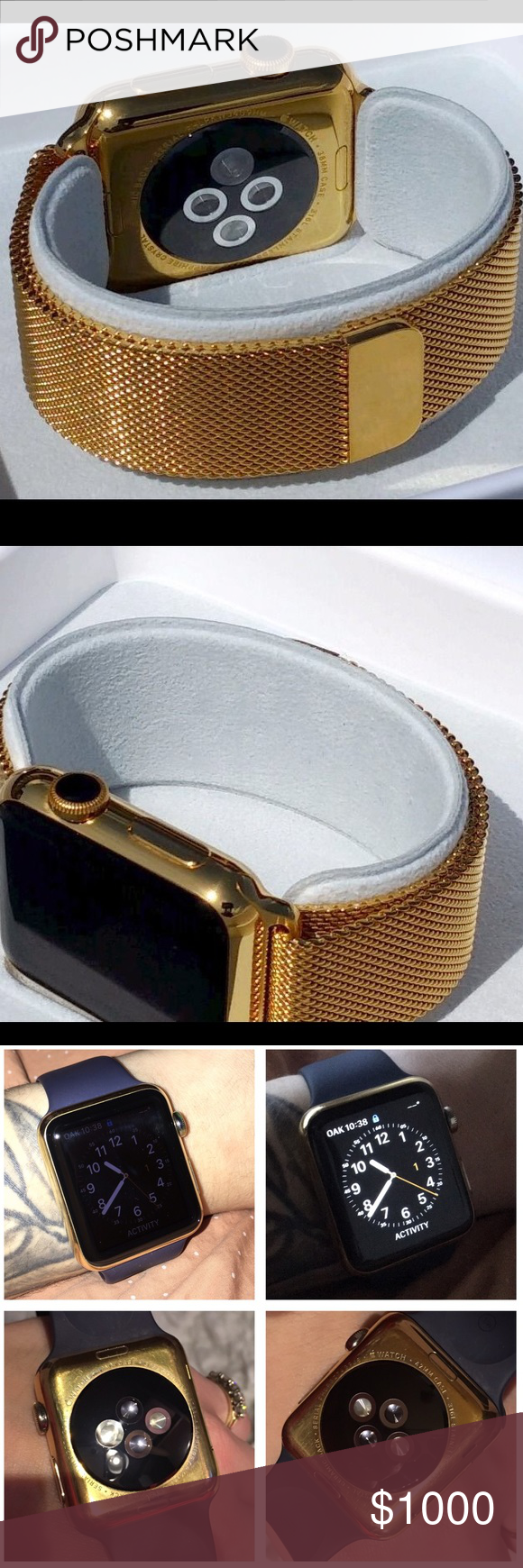 24k Gold Plated 42mm Apple Watch 8/10 condition 24k Gold