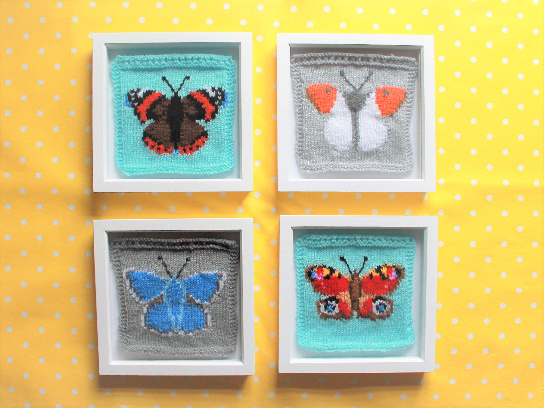Knitting Pattern PDF Download - British Butterflies Intarsia Squares ...