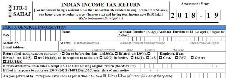 How To File Itr 1 Sahaj Form Online For Ay 2020 21 Easily Sag