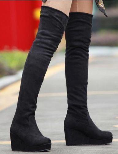 Thigh High Boots Wedge Heel