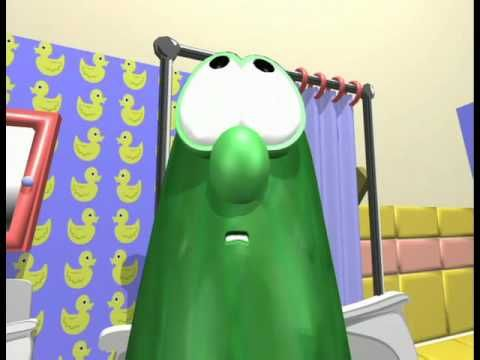 I too was shocked and slightly embarrassed at the sight of Larry in a towel. (Veggie Tales - The Hairbrush Song)