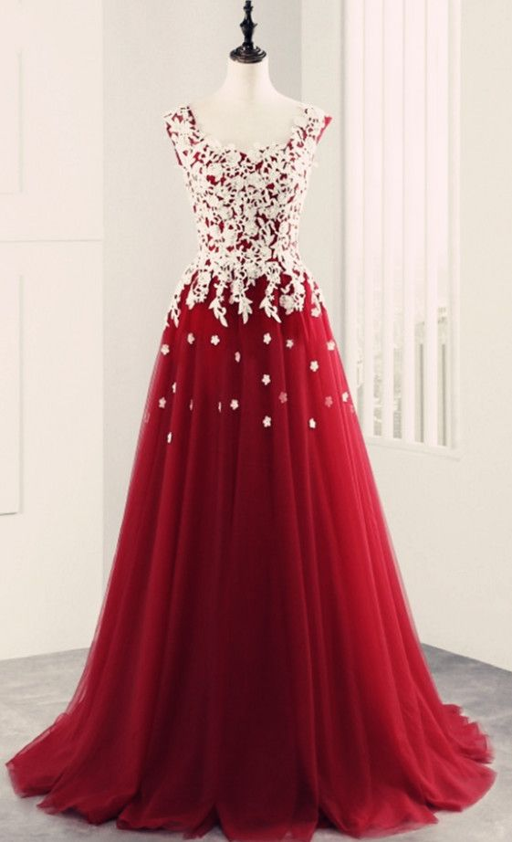 Dark Red Lace Applique Ball Gown Sweetheart Long Prom Dresses 2018 ...