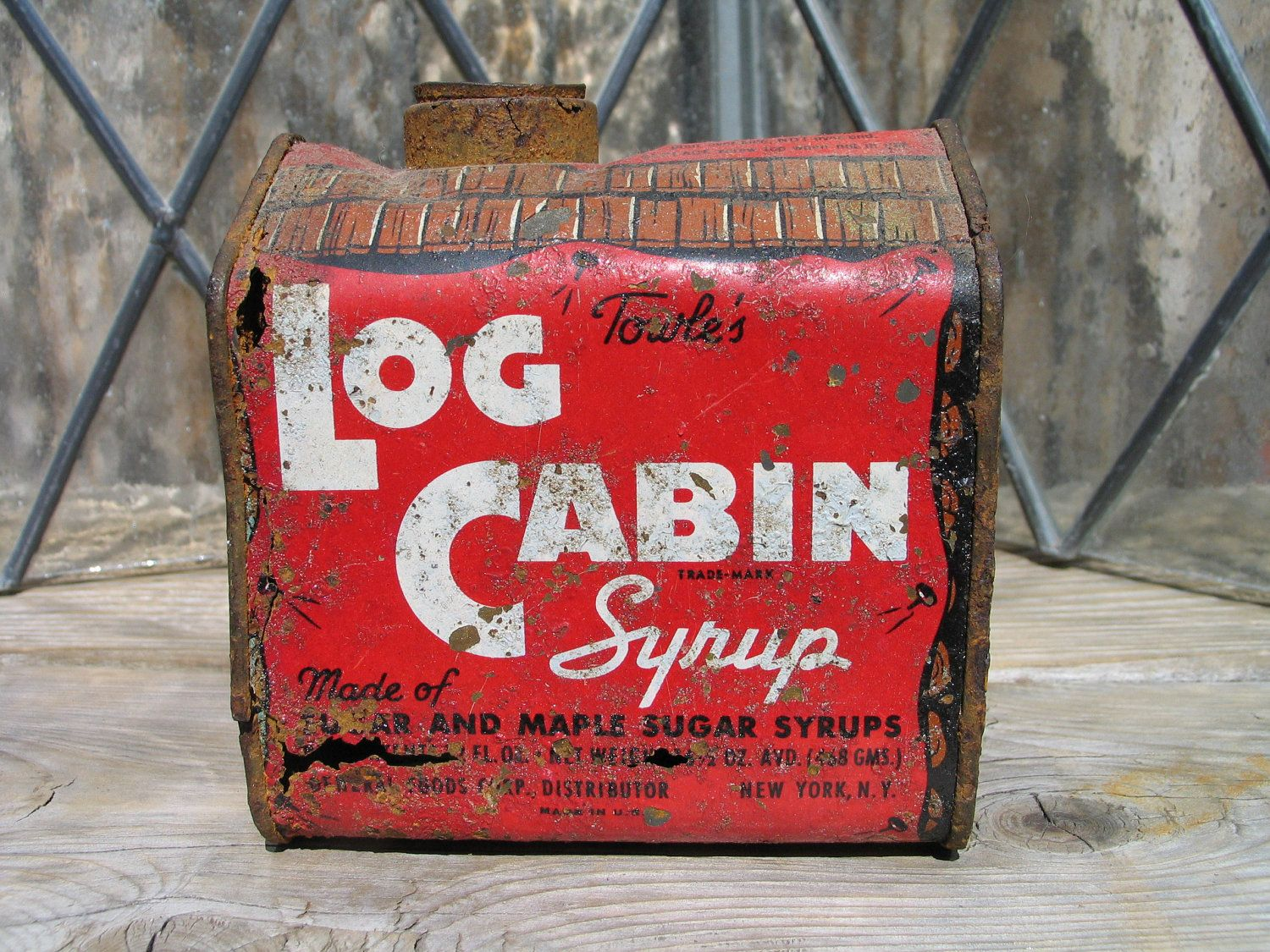 Vintage Towleu0027s Log Cabin Syrup Tin General Foods Corp. 30u0027s, Antique Tin,  Rustic