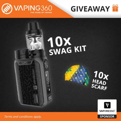 Win 10 x Vaporesso SWAG Kit and 10 x Head Scarf (10/05/2017