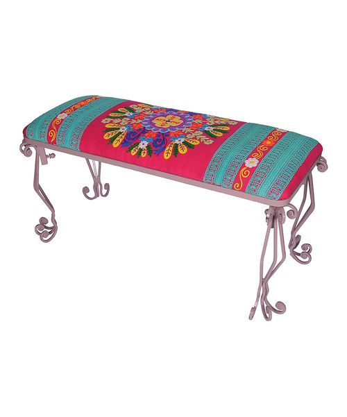 Add a ton of fun color to a home with this bold bench. The intricate pattern and unique design will make it the focus of any room while its sturdy construction ensures that it will be around for years to come.   Weight capacity: 220 lbs.36'' W x 16'' H x 14'' DIron / cottonImported