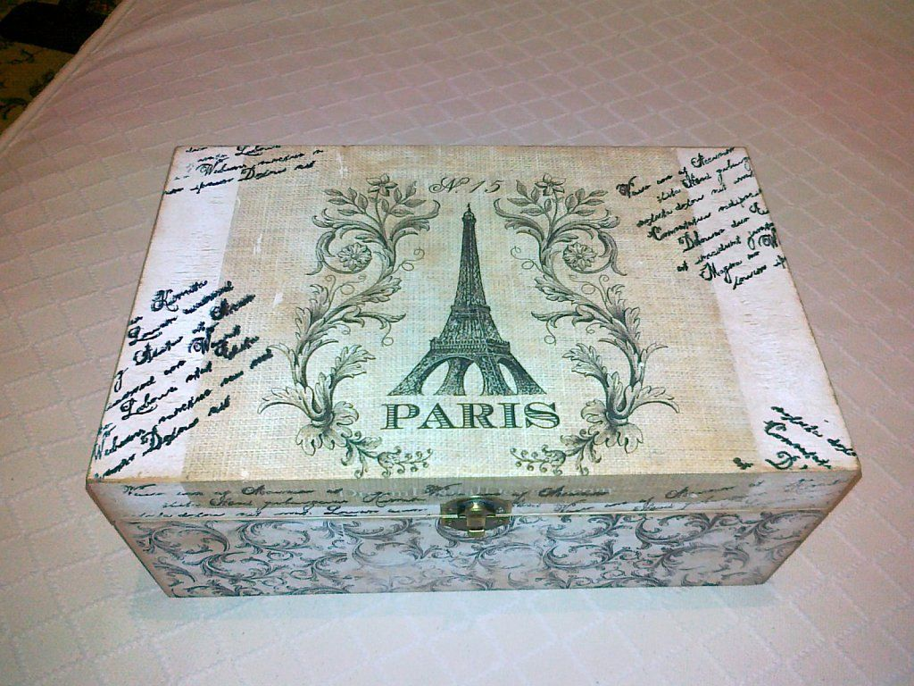 Como pintar una caja de madera estilo vintage buscar con - Manualidades pintar caja metal ...