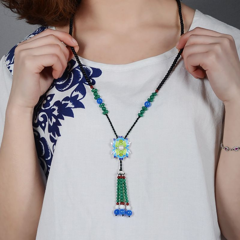 Blue necklace for women vintage cloisonne leaf green stamen flower blue necklace for women vintage cloisonne leaf green stamen flower pendant and ceramic drop long stone strand chain jewelry aloadofball Choice Image