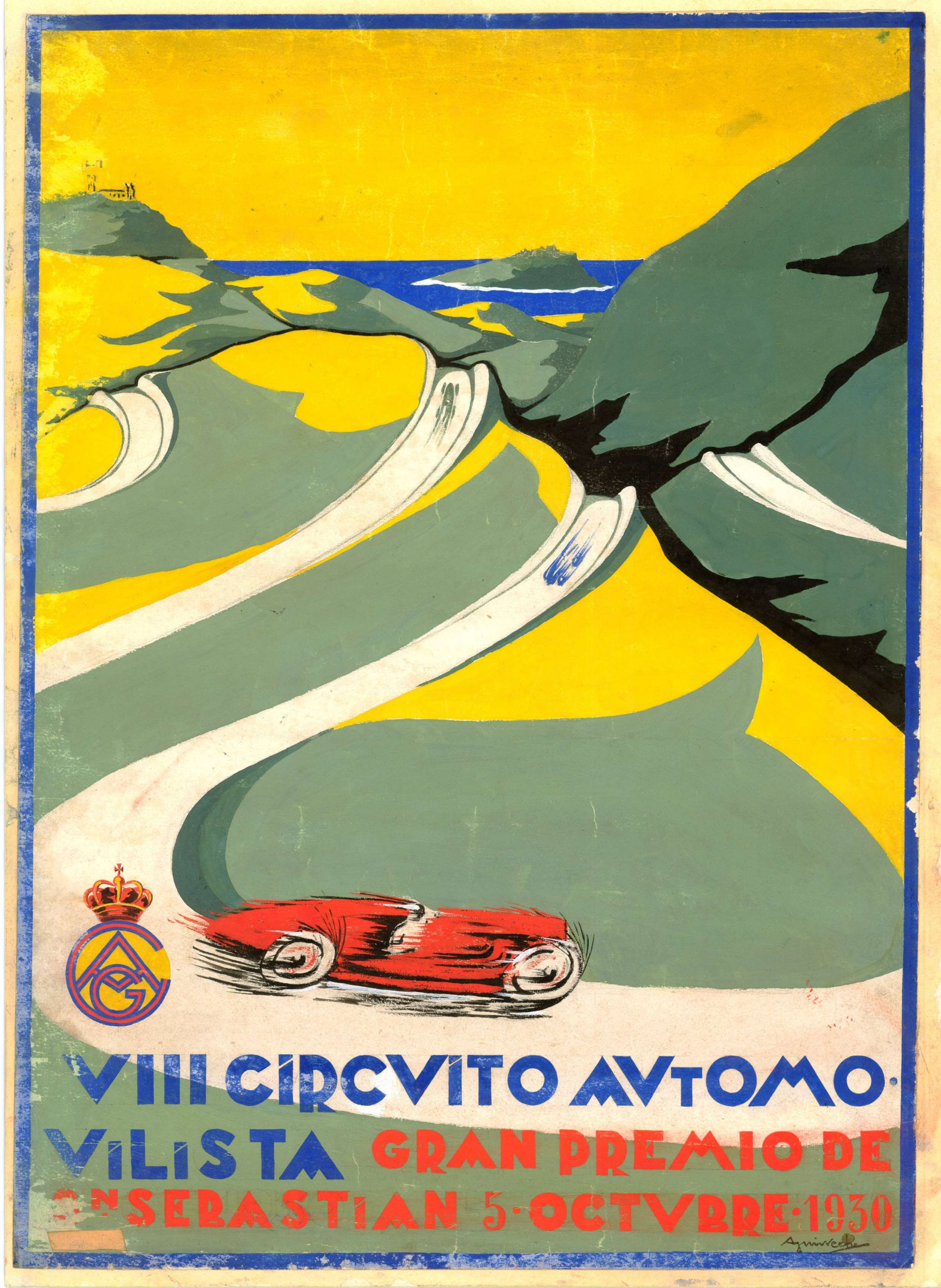Car Race poster Gran Premio España 1930 Lasarte - San Sebastian