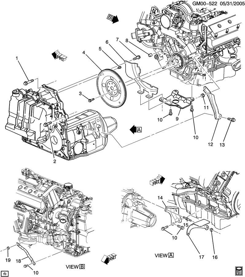 engine to transmission mounting cadillac dts