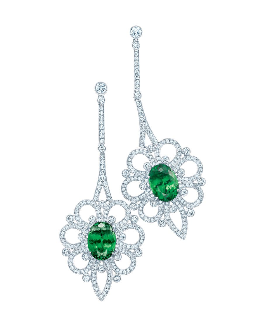 9311b17ed4fc4 Tiffany tsavorite earrings with an openwork motif in platinum set with  diamonds that suggests petals unfolding from a centre of sumptuous green.