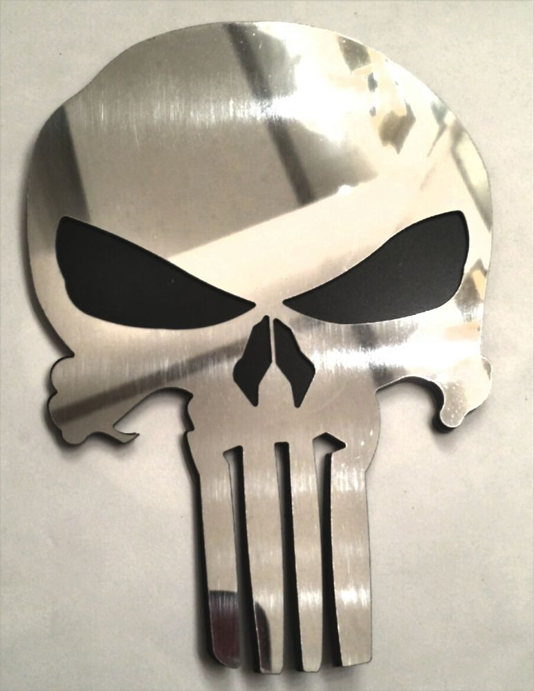 Punisher Skull Mirror Polished Stainless Steel Emblem Decal