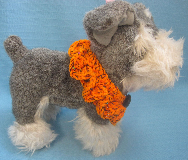 Pet Ruffle Collar Dog Cat Halloween Orange Tiny Handmade Crochet by Bren by HandCraftedByBren on Etsy