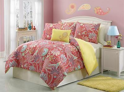 FULL Girls Teen Orange Yellow Pink PAISLEY FLORAL CHIC Comforter Bedding SET