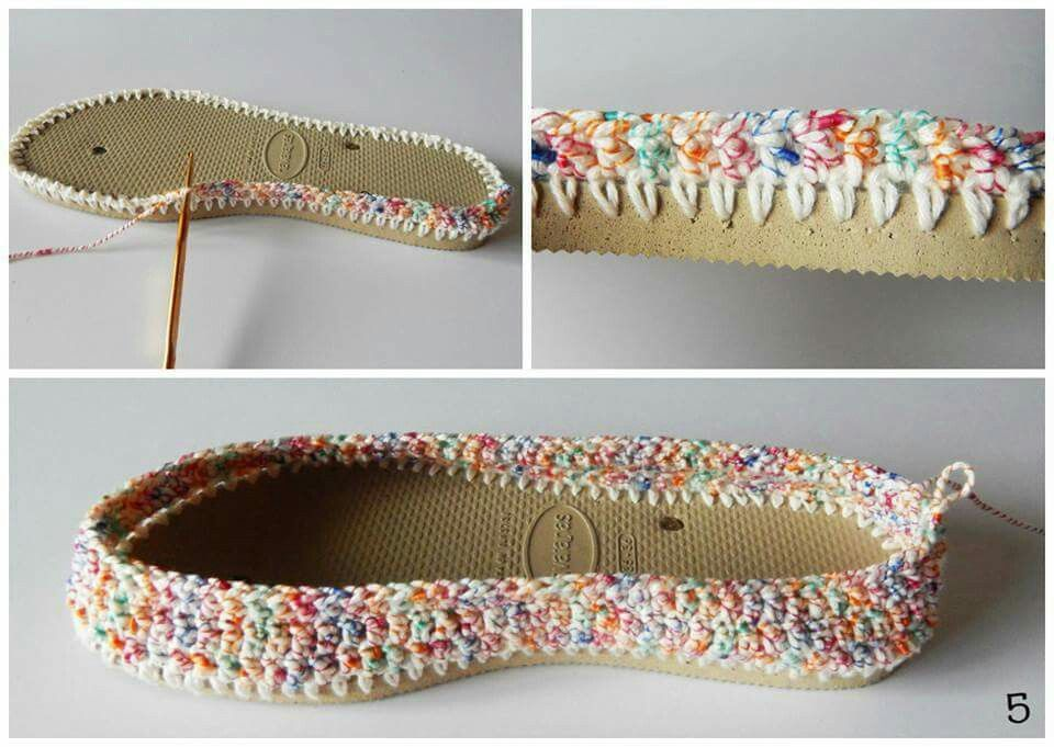 Crochet slippers from a pair of flip flops! | Crochet Slippers and ...