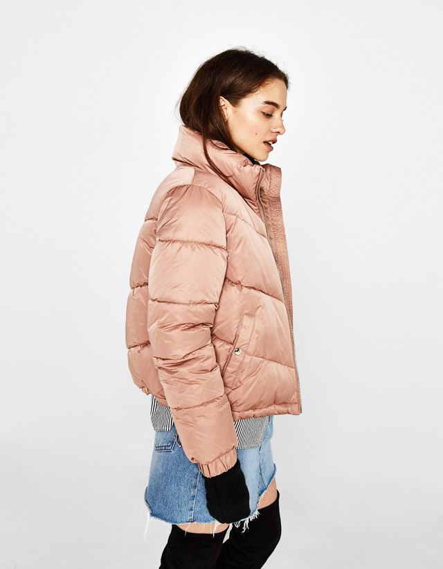 3aa2d16ef100 Bershka United States - Puffer jacket with gathered hem