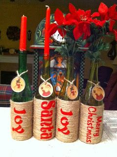 Upcycle green wine bottles into candle holders or vases.