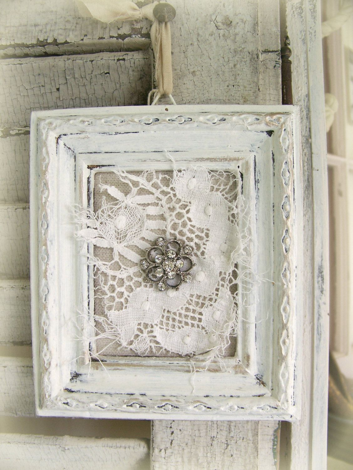 Shabby White Lace Collage Vintage Rhinestone Wall Art By