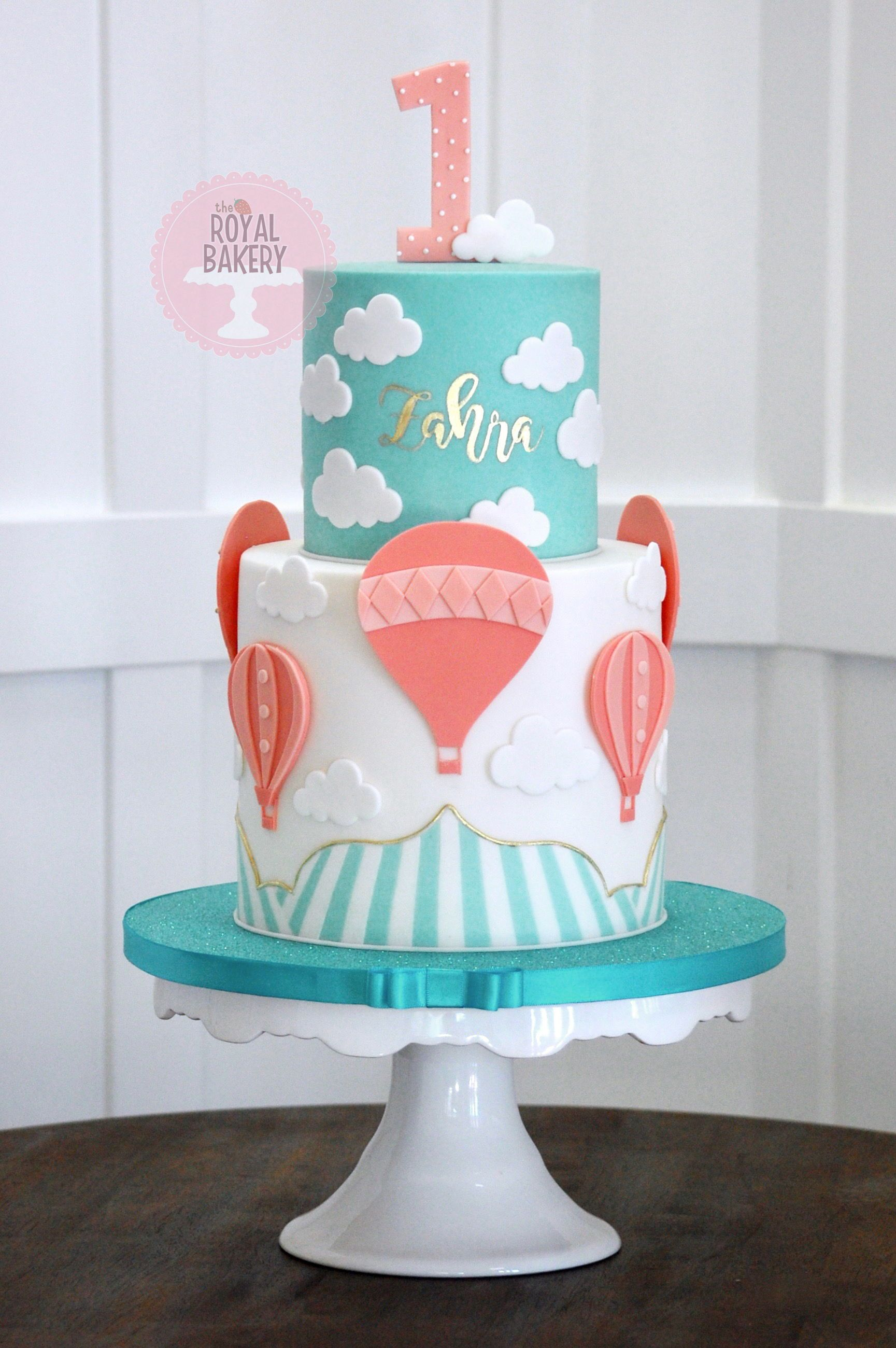 Incredible Teal And Coral Hot Air Balloon Cake Hot Air Balloon Cake Funny Birthday Cards Online Necthendildamsfinfo
