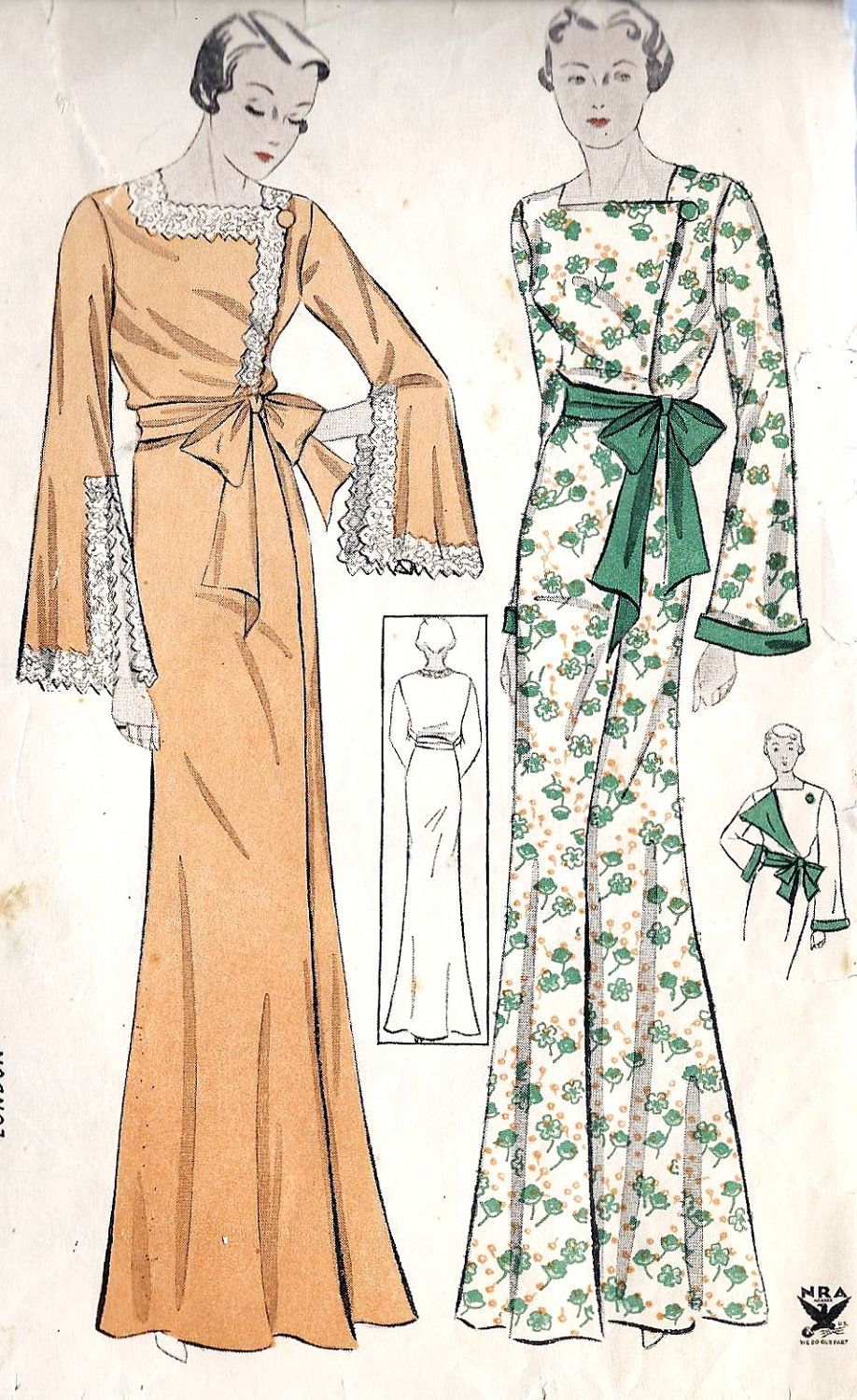 1930s Misses Negligee Vintage Sewing Pattern, Simplicity 1470 Bust ...