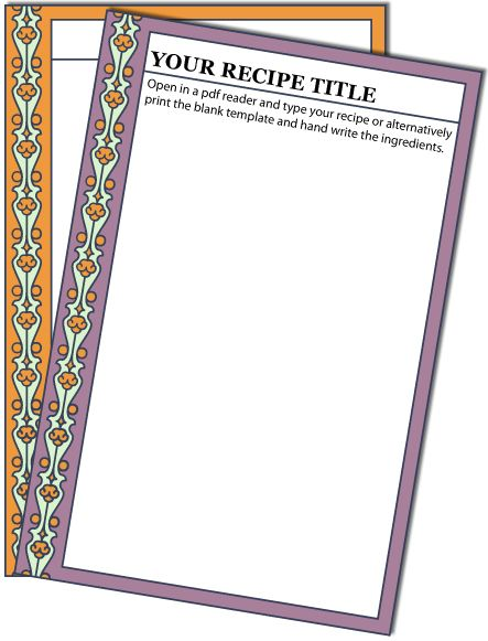 Purple And Orange Vertical Recipe Card Templates Printable Recipe Cards Recipe Cards Template Recipe Cards Printable Free