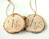Mr and Mrs Tree Ring Signs. $25.00, via Etsy.