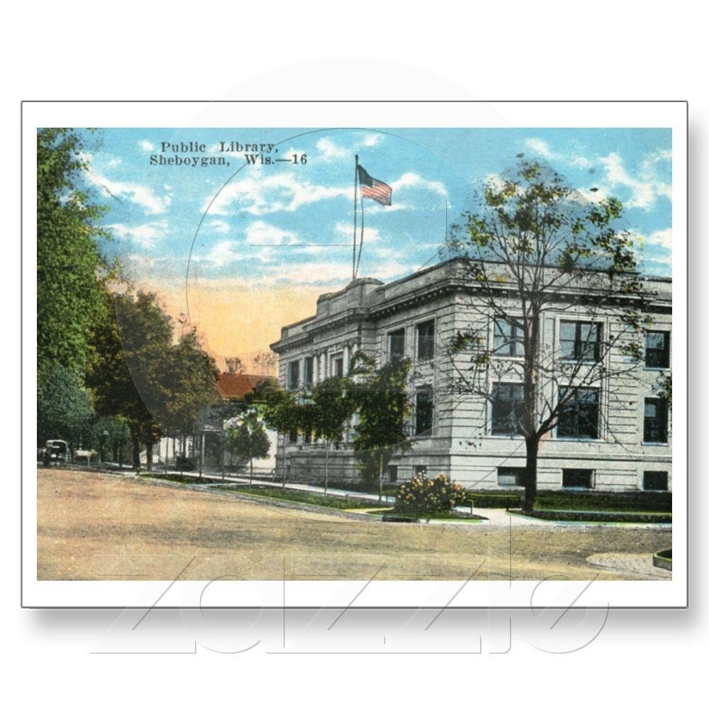 Library, Sheboygan, Wisconsin Vintage Postcard Zazzle