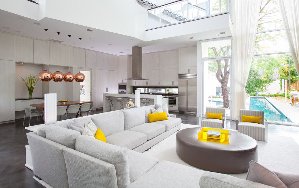 Foxy Yellow Leather Sectional Decor Ideas In Living Room