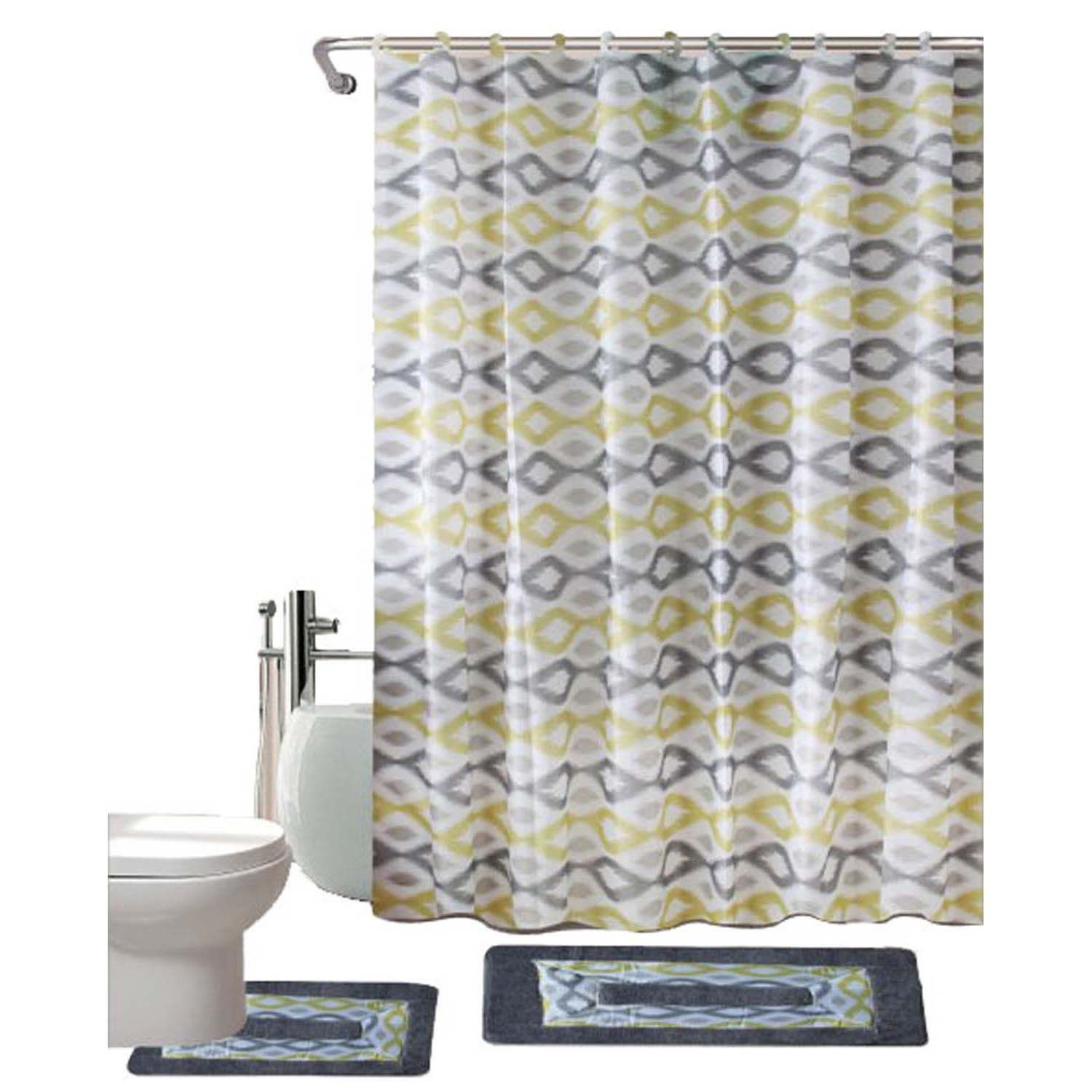 Kashi Home Keena 15 Piece Printed Polyster Shower Curtain Set Yellow ...