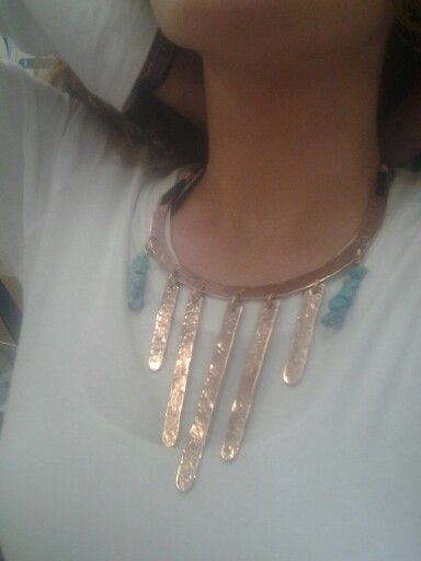 Here is a color picture of the necklace Kristen is modeling.