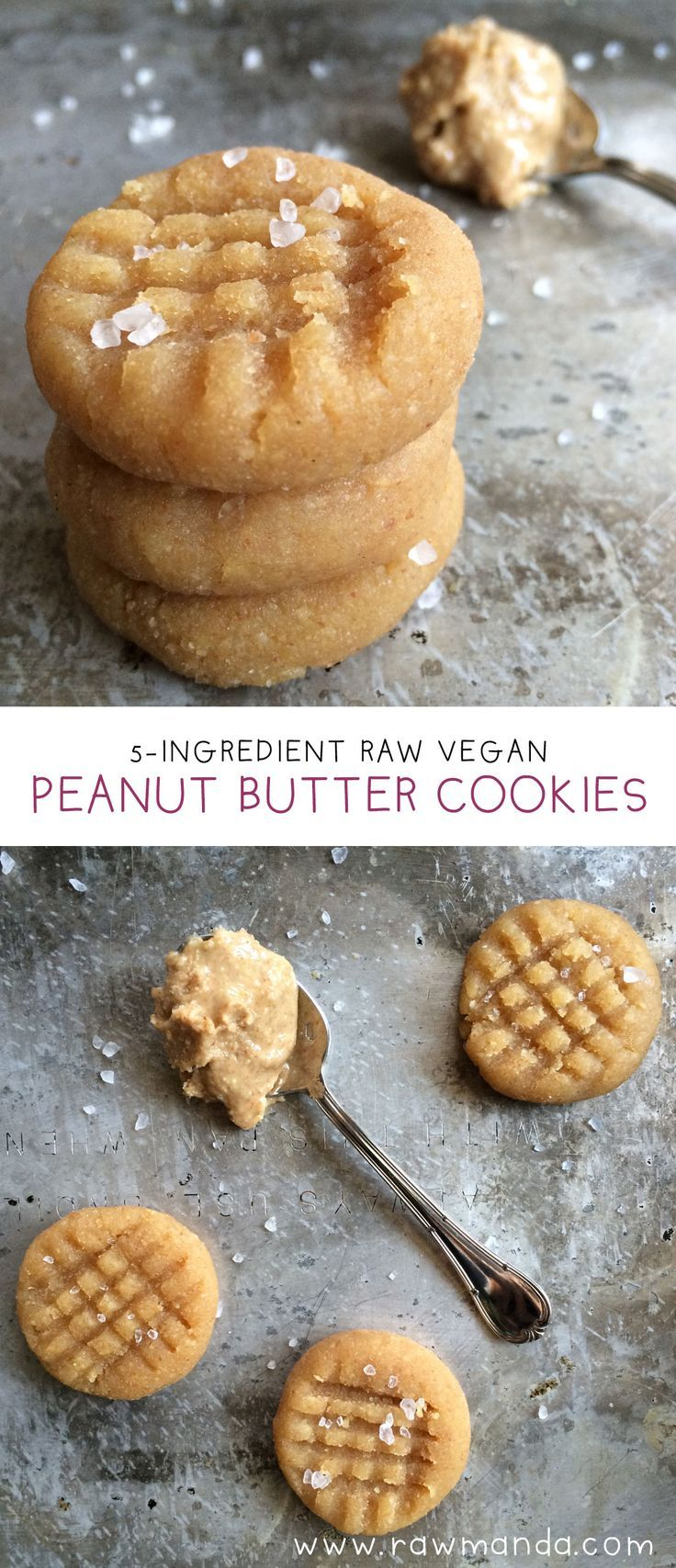 Soft, chewy raw peanut butter cookies are so fluffy and moist in the center after a few hours in the dehydrator. An easy 5 ingredient snack to make for peanut butter lovers! Substitute any nut butter to make your favorite gluten-free cookie. www.rawmanda.com