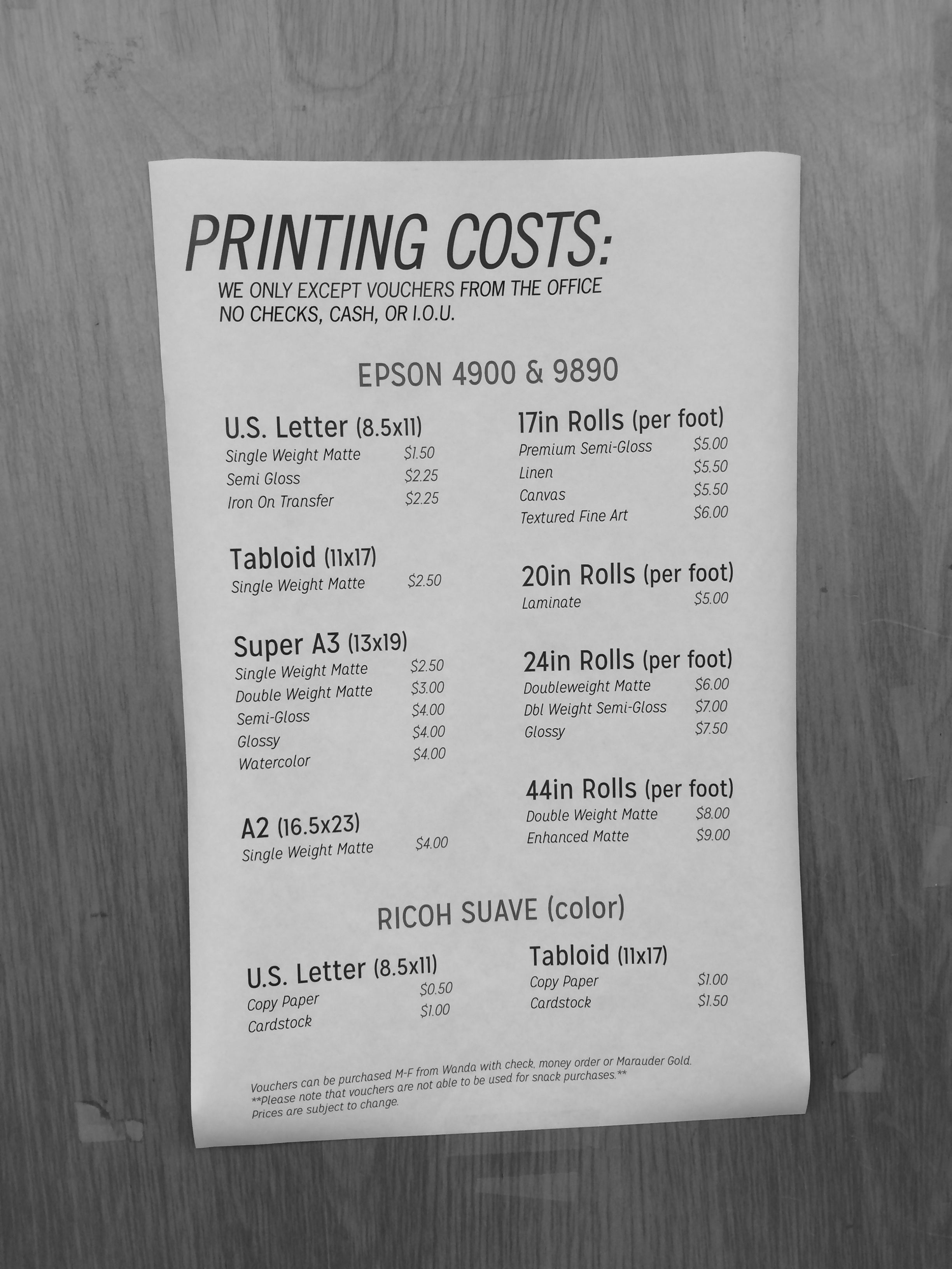 Printing Costs At Millersville University Millersville University Printing Costs Prints
