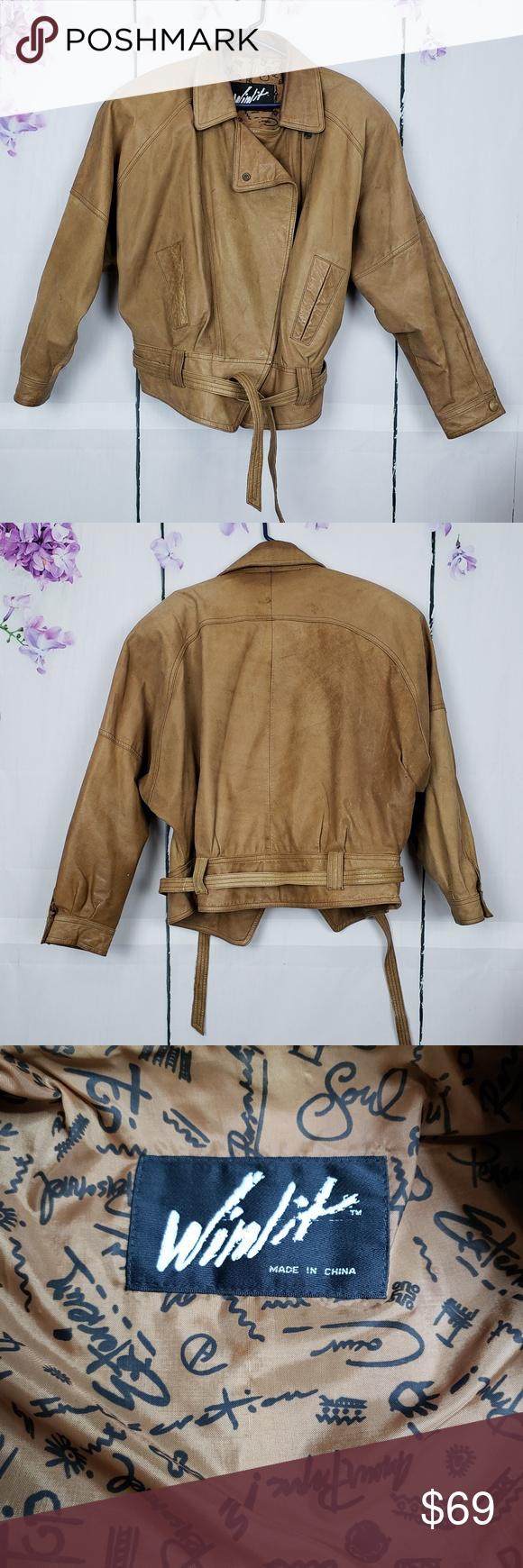 Winlit Chestnut Leather Bomber Belted Jacket L EUC