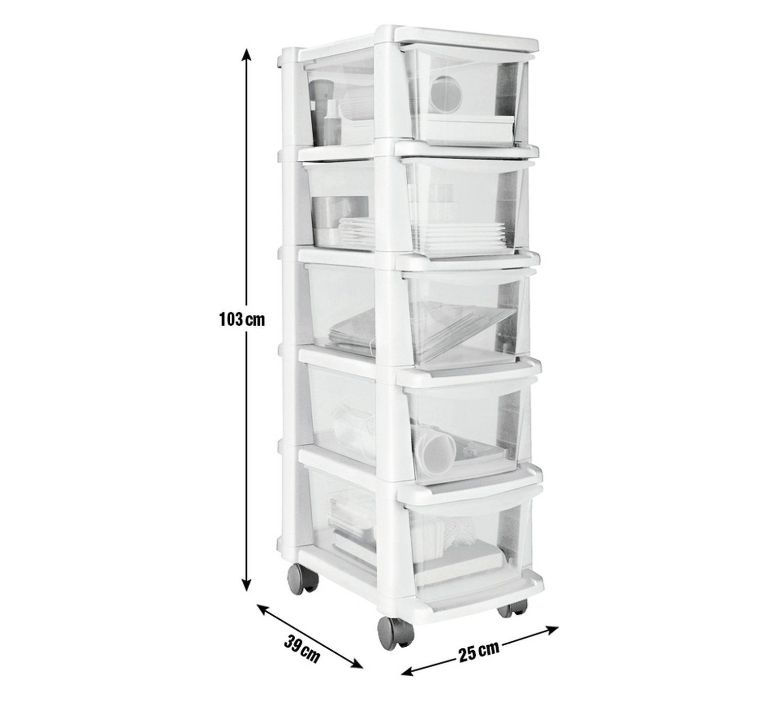 Buy HOME 5 Drawer Silver Plastic Slim Tower Storage Unit At Argos.co.uk